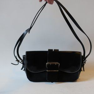 FENDI BLACK LEATHER TEXTILE HAND SHOULDER BAG *